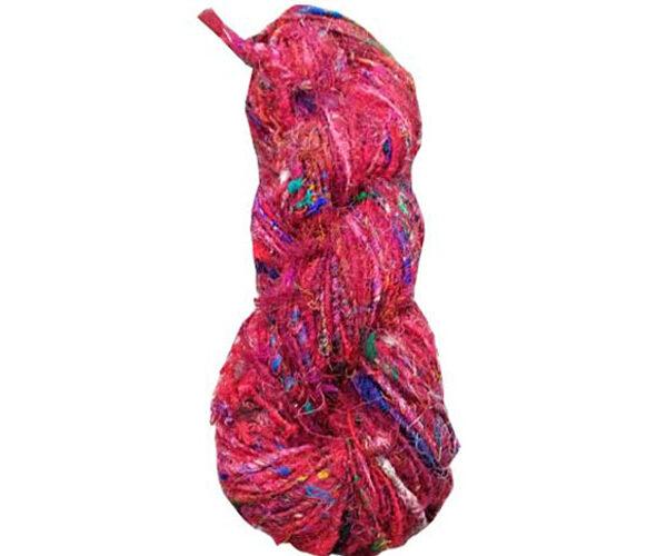 Pinkish Red Color Recycled Sari Yarn