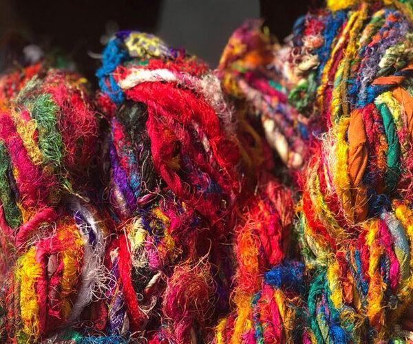 Multi Color Recycled Sari Silk Yarn